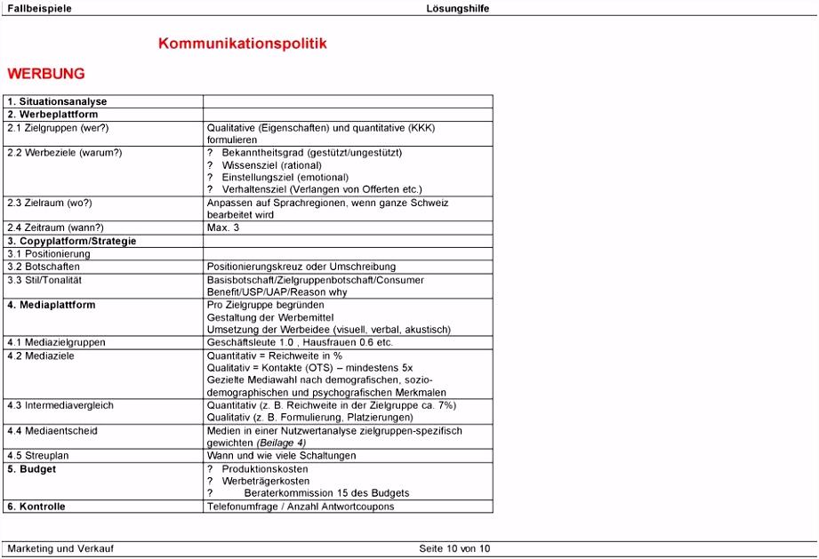 Lösungshilfe zu Marketing Fallbeispielen PDF