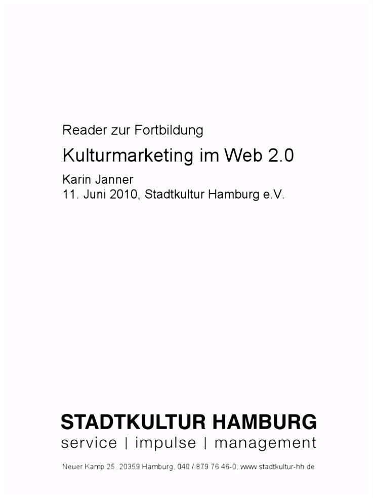 Reader Web 2 0 im Kulturmarketing Karin Janner Schulung