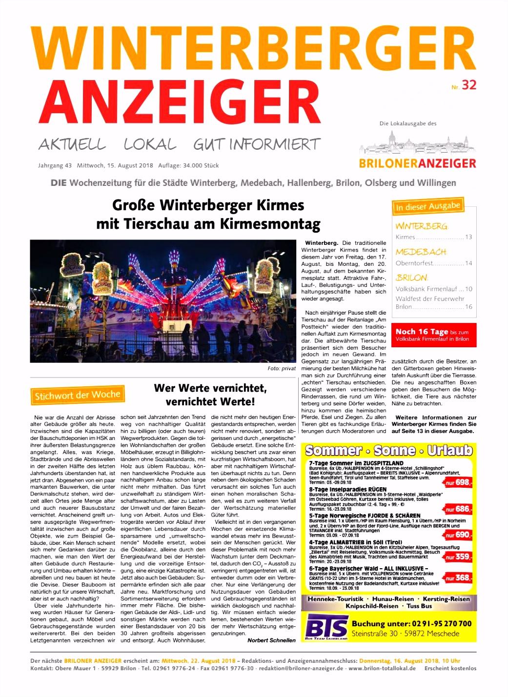 Winterberger Anzeiger Ausgabe vom 15 08 2018 Nr 32 by Brilon