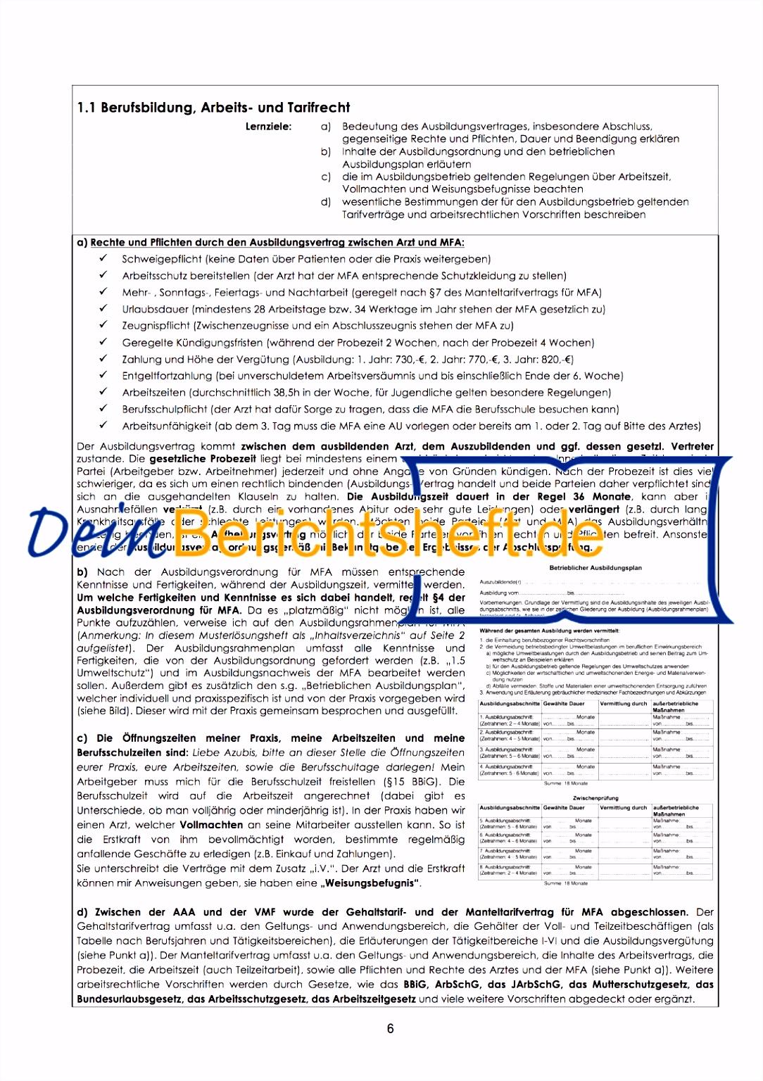Berichtsheft Ausbildung Vorlage Kostenlos Kfz Mechatroniker