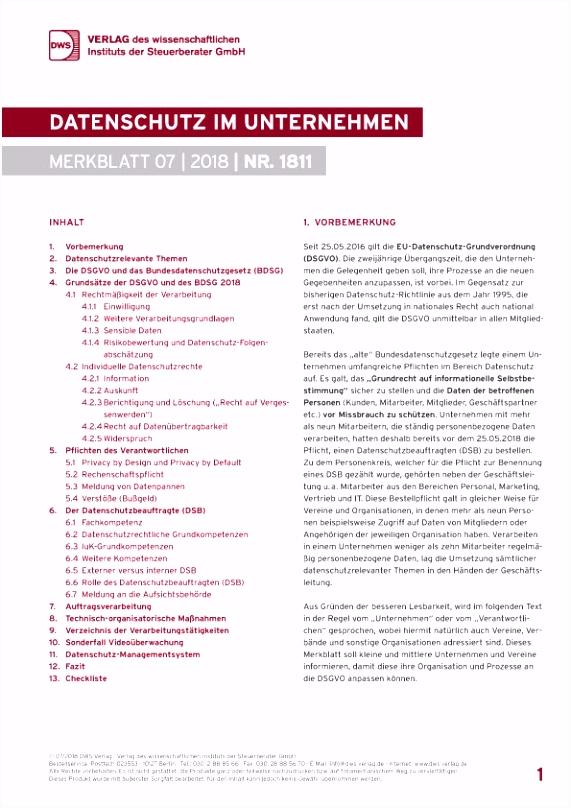 Datenschutz im Unternehmen Print Merkblätter DWS Verlag