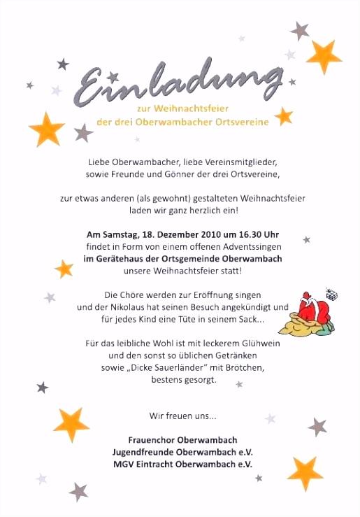 Einladung Weihnachtsfeier Vorlage Text