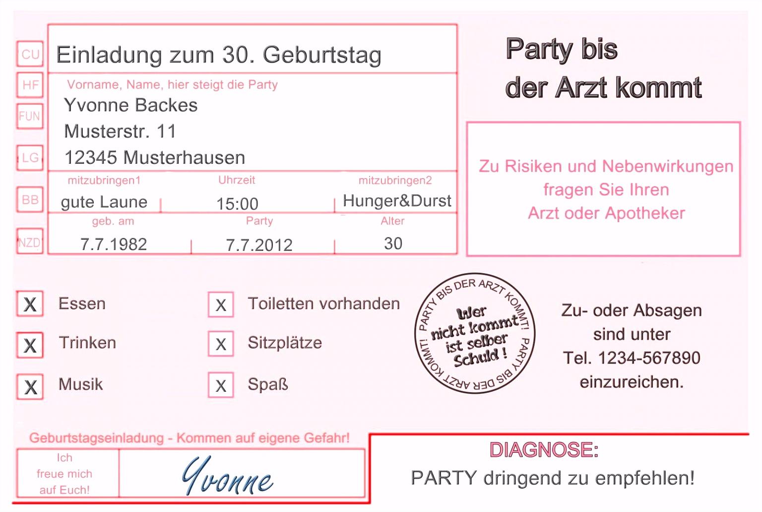 Einladung 30 Geburtstag Muster 30 Geburtstag Feiern Einladung