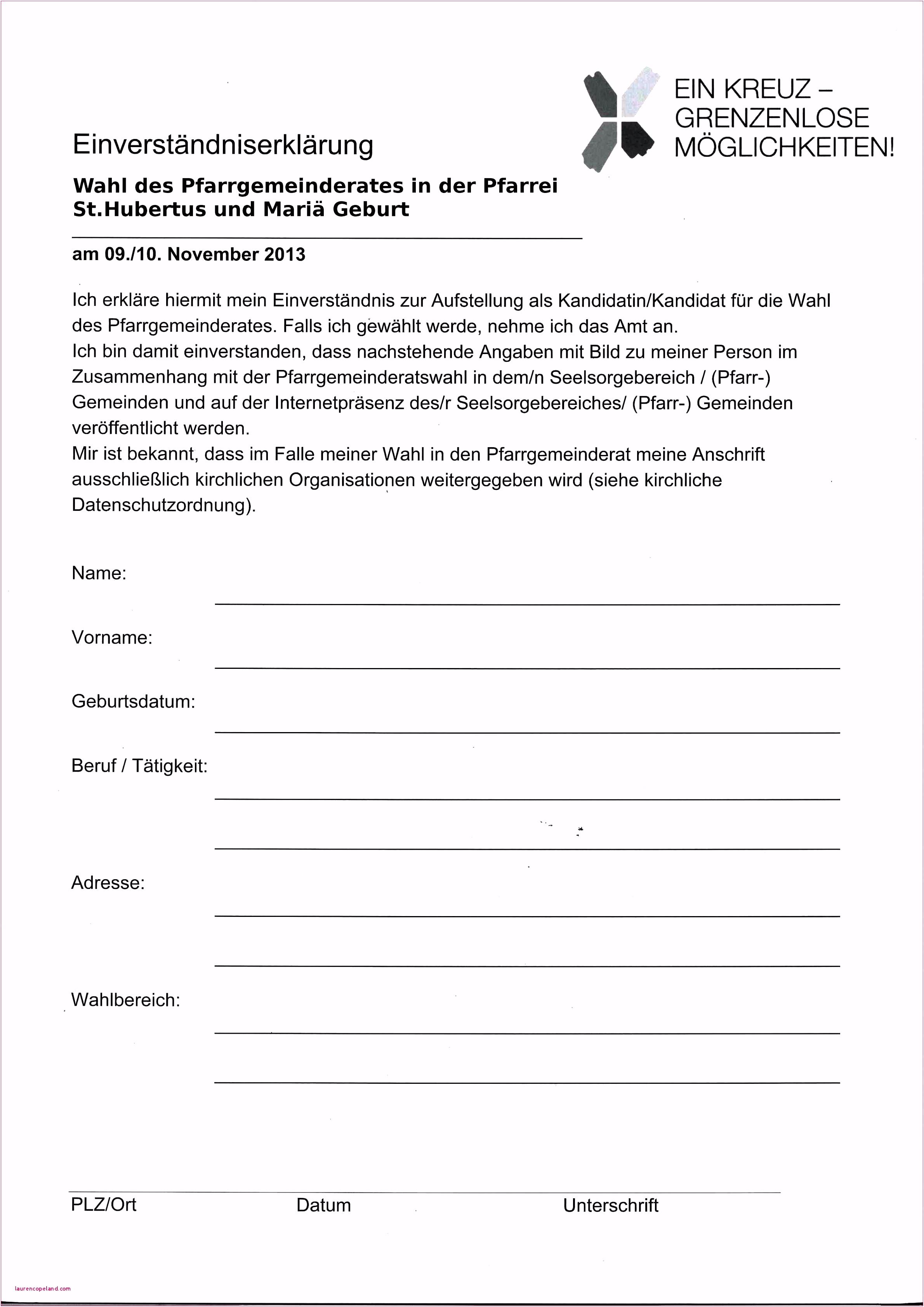Kassenbericht Verein Vorlage Kostenlos 15 Einverständniserklärung
