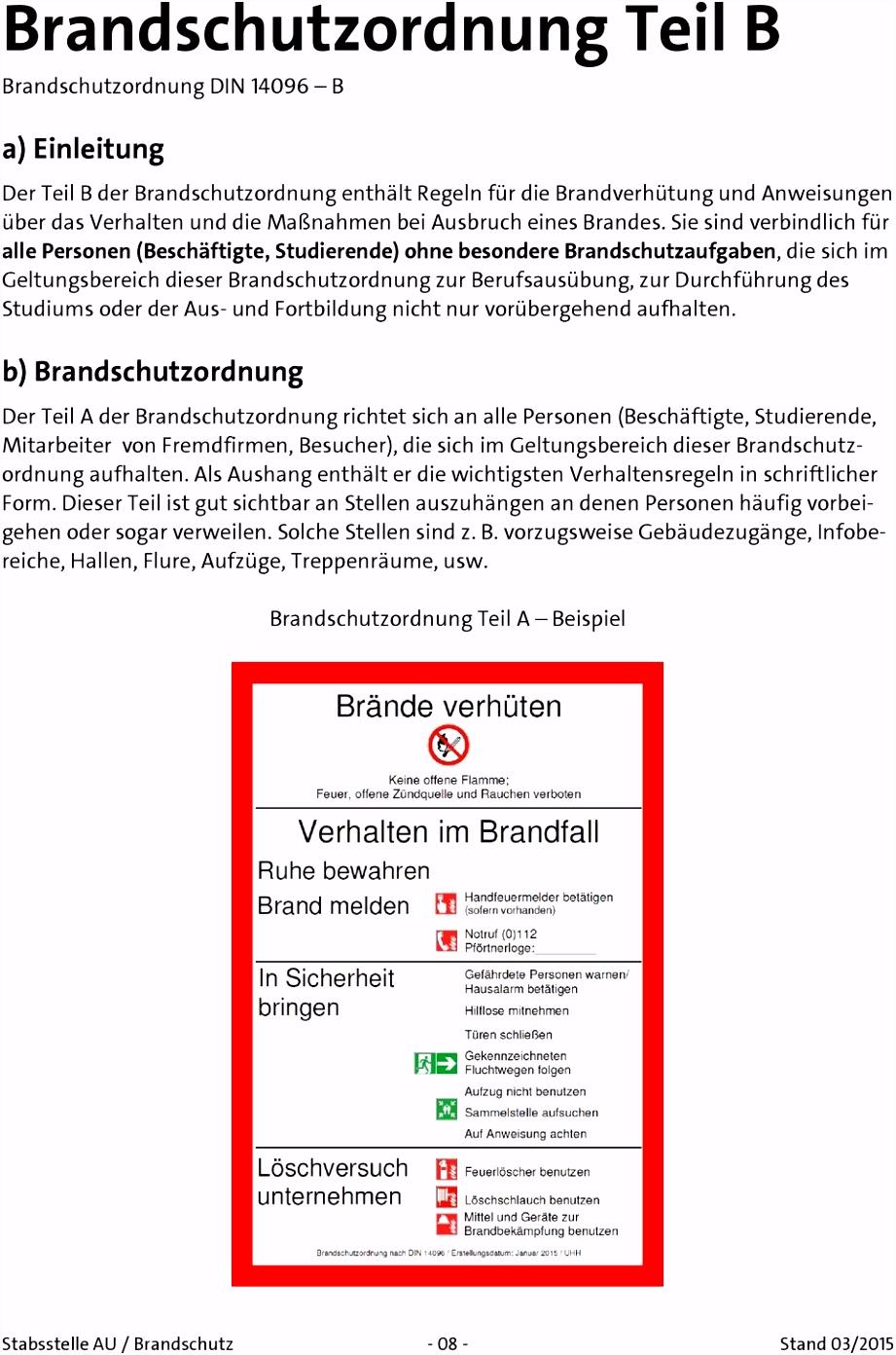 Brandschutzordnung der Universität Hamburg ohne UKE für den