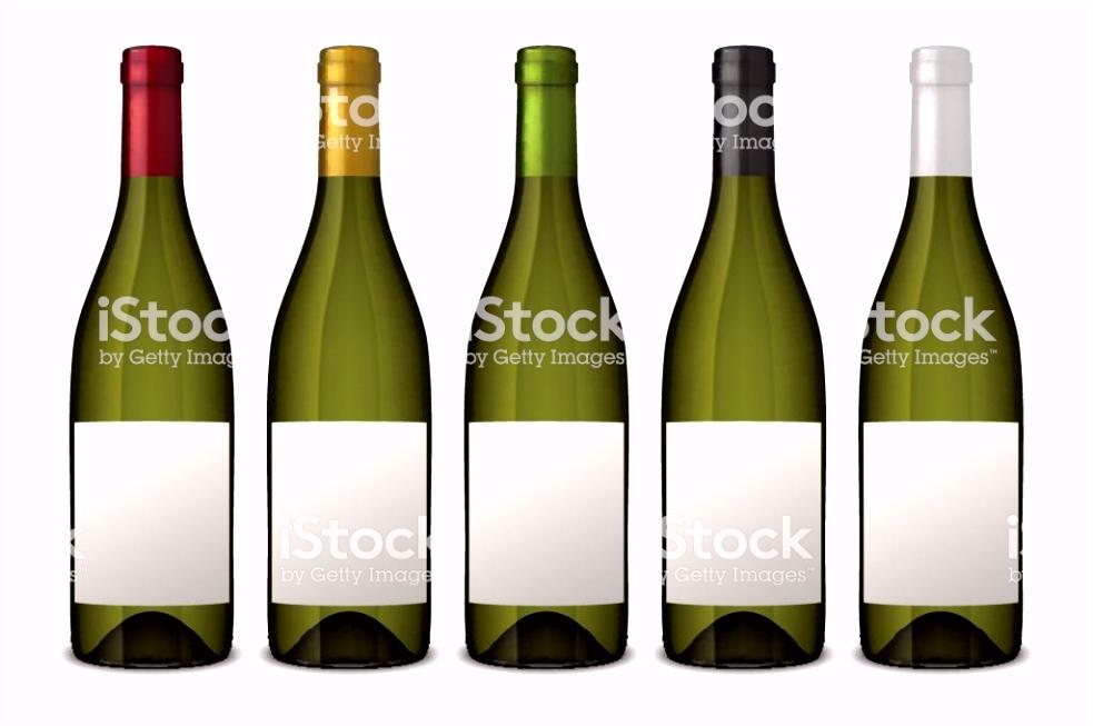 5 Realistische Vektor Grüne Weinflaschen Mit Weißen Etiketten