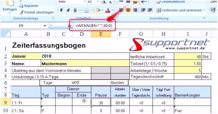 Arbeitszeiterfassung Excel Vorlage