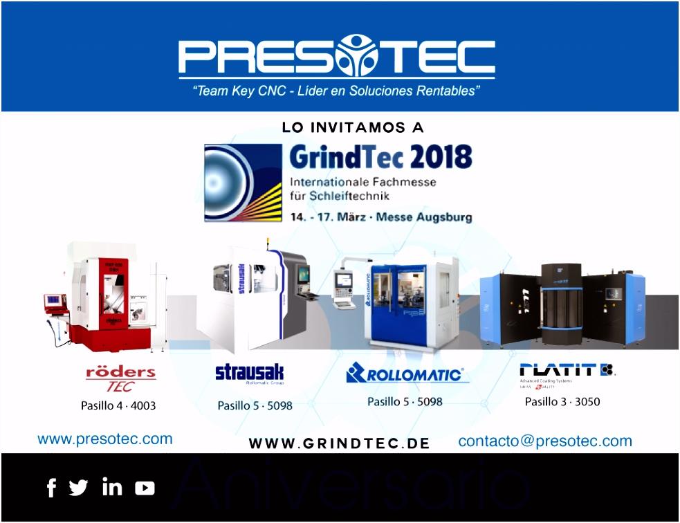 GrindTec 2018 Augsburgo Alemania 14 al 17 Marzo 2018