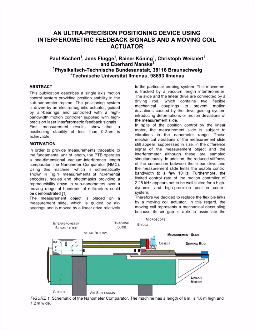 PDF An ultra precision positioning device using interferometric