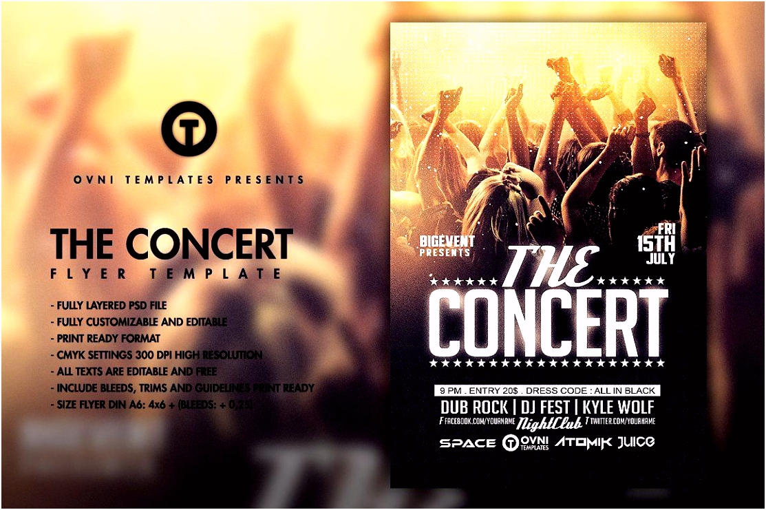 THE CONCERT BAND Flyer Template by OVNI TEMPLATES on creativemarket