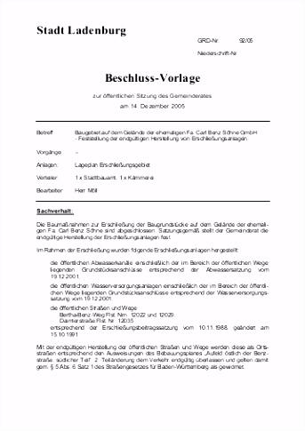 Stadt Ladenburg Beschluss Vorlage