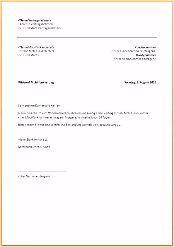 10 O2 Handyvertrag Kundigen Vorlage Pdf Csefse