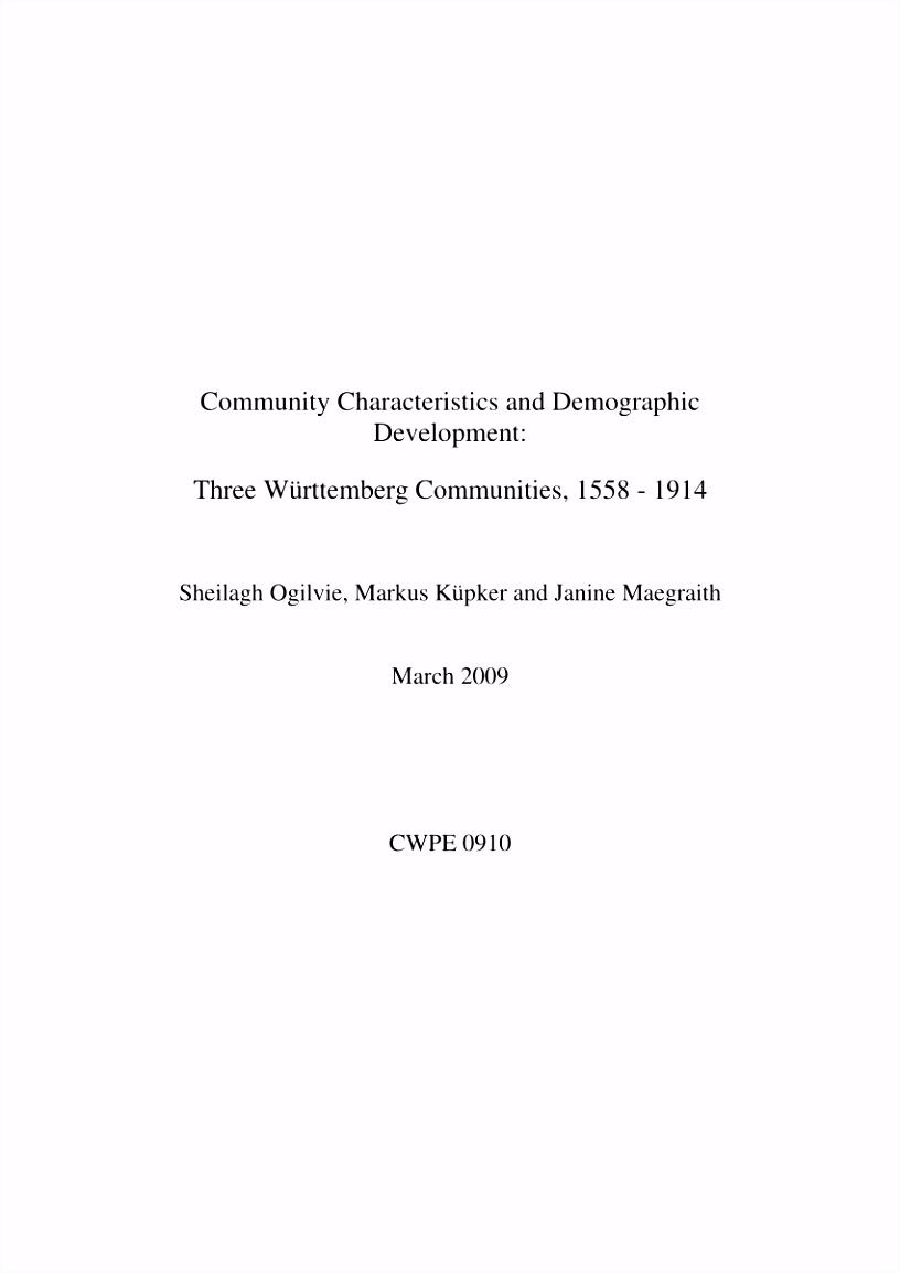 PDF munity Characteristics and Demographic Development Three