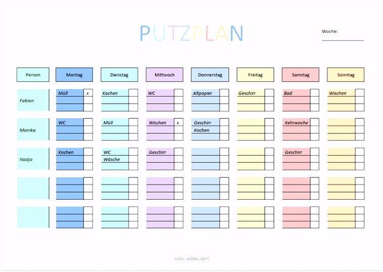 Putzplan zum Ausdrucken PDF Word Wichtig Pinterest