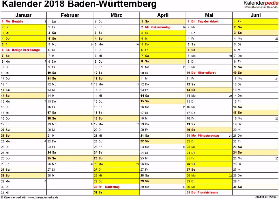 Schichtplan Excel Vorlage Kostenlos Kalender 2018 Baden Württemberg