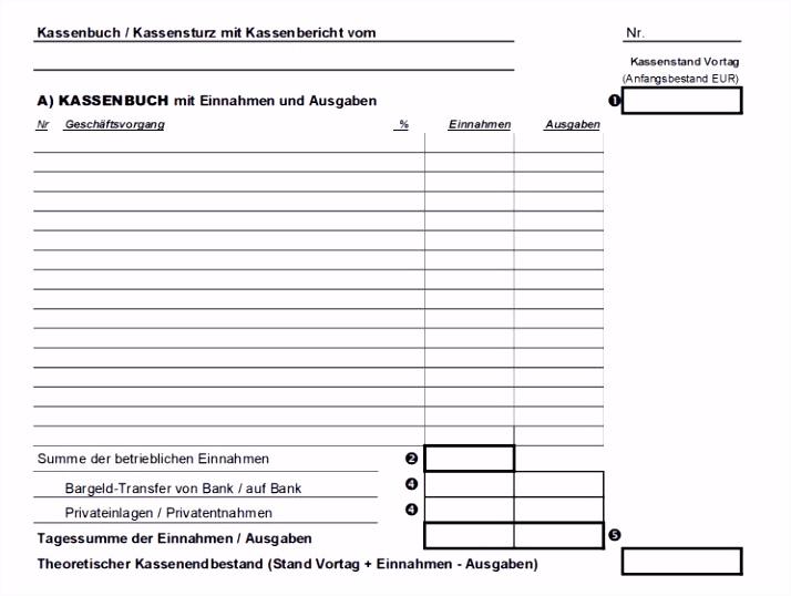 Kassenbuch Handschriftlich Vorlage