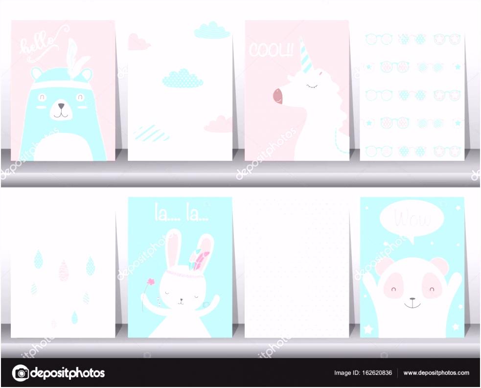 Satz von niedlichen Tiere Poster Vorlage Karten Bär Hase Vektor
