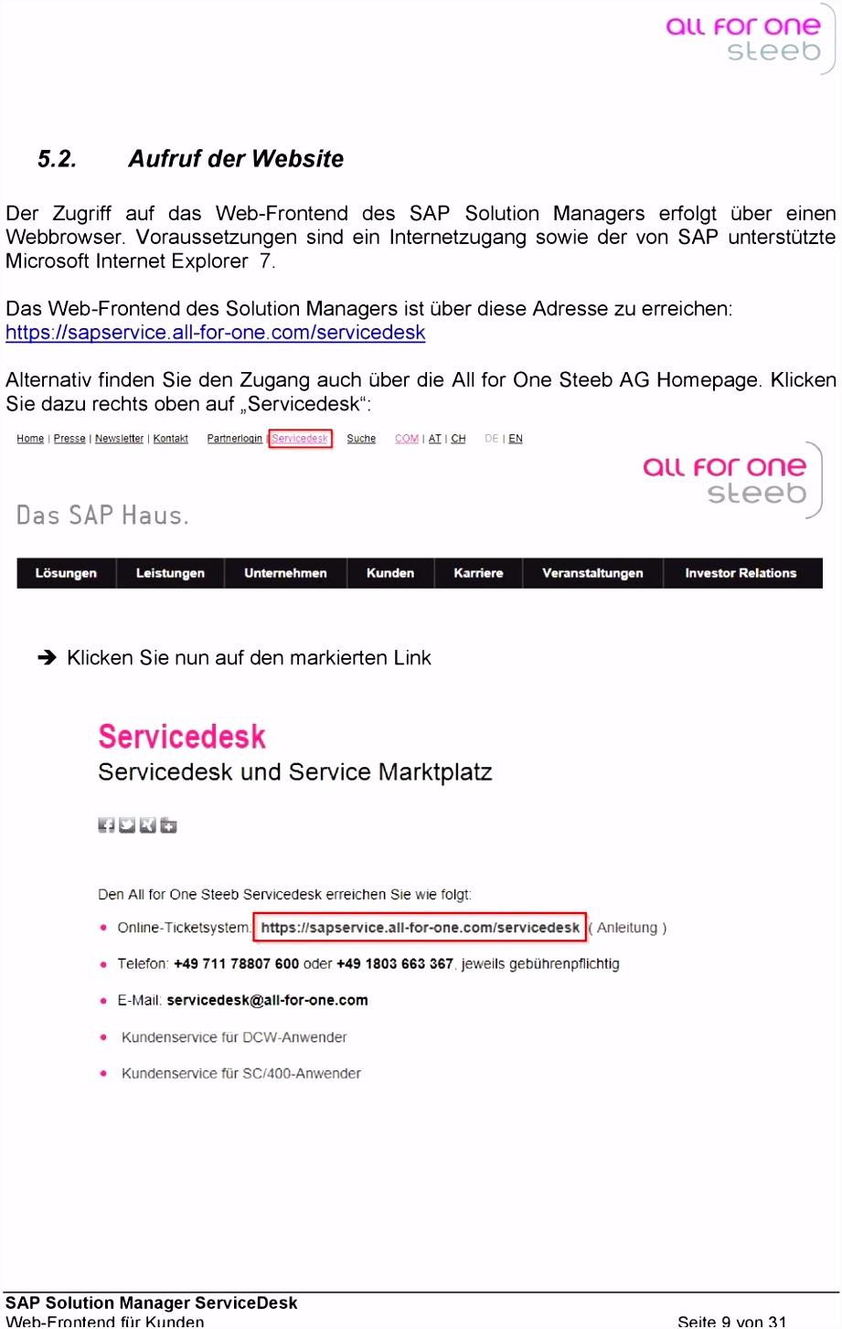 Handbuch SAP Solution Manager ServiceDesk Web Frontend für Kunden