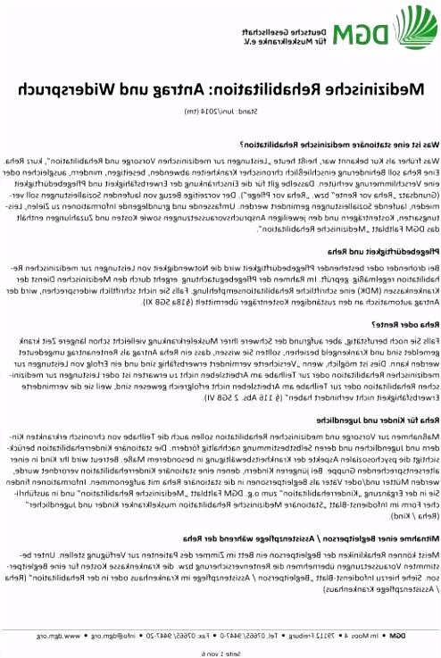 Widerspruch Reha Klinik Vorlage Widerspruch Reha Klinik Muster