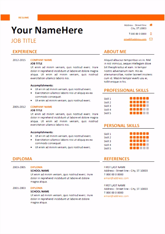 Lebenslauf Ingenieur Vorlage Word Free Clean and Simple Resume Template for Word Docx orange N3qg59adb9 V2bhu6fhmh