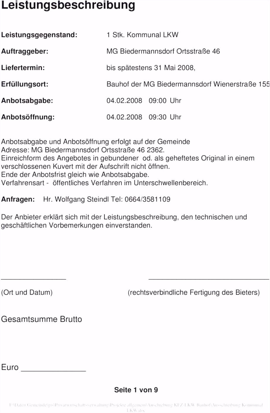 Leistungsverzeichnis Vorlage Word Werkvertrag Muster Frisch Leistungsverzeichnis Muster Vorlage Muster W7ln16vor3 F6mkm5smru