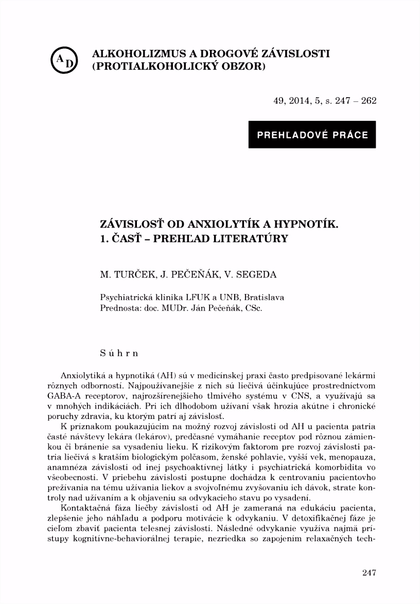 PDF Prevalence of benzodiazepine abuse and dependence in