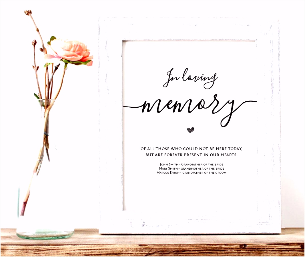 In Loving Memory Printable Wedding Memorial Table Sign Memory Sign