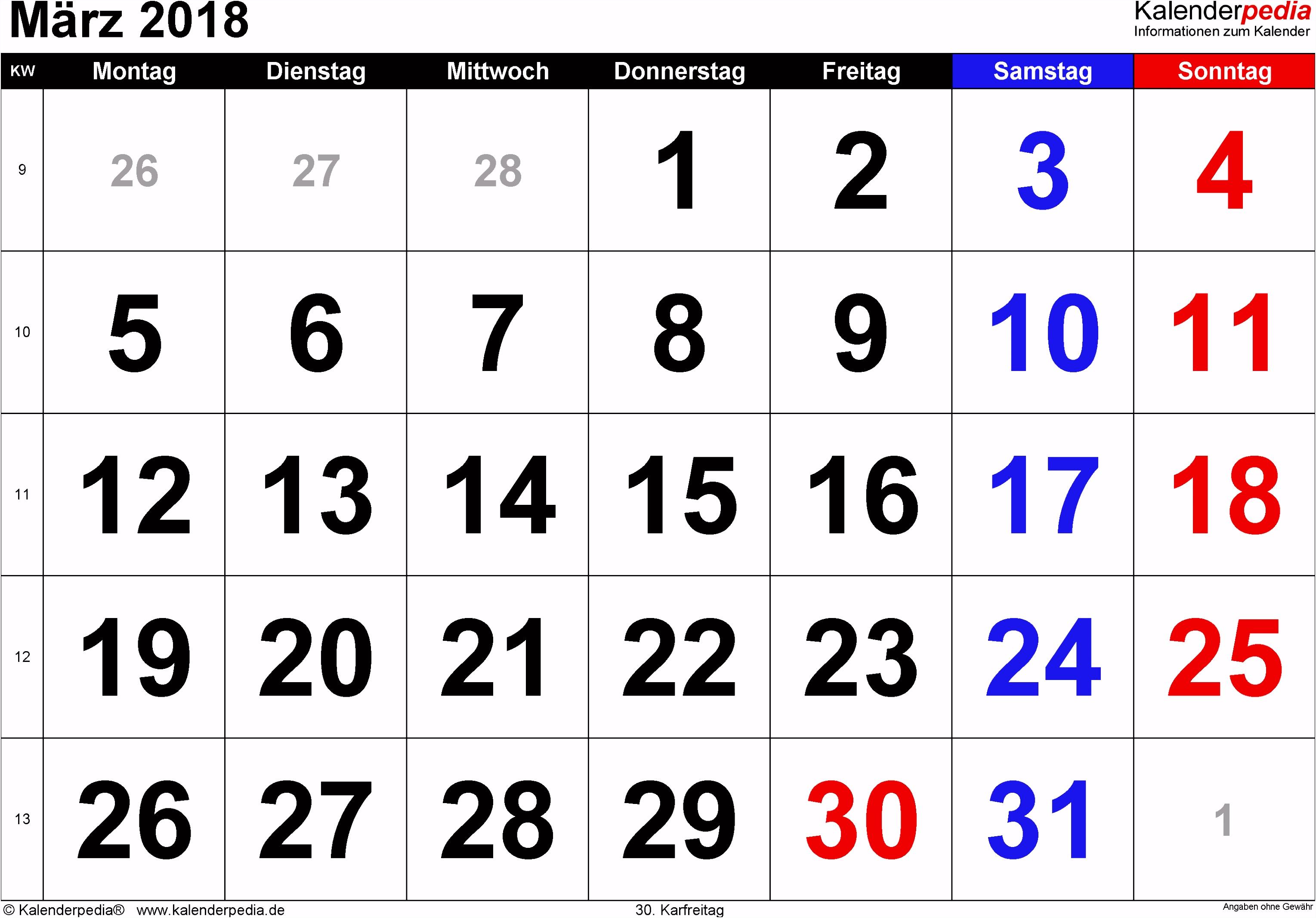 Kalender April 2018 Zum Ausdrucken