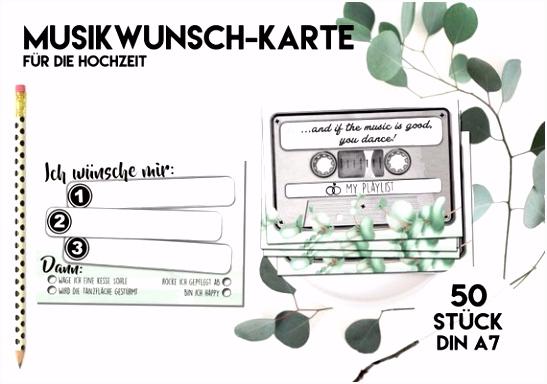 50 MUSIKWUNSCH KARTEN für Hochzeit Grün