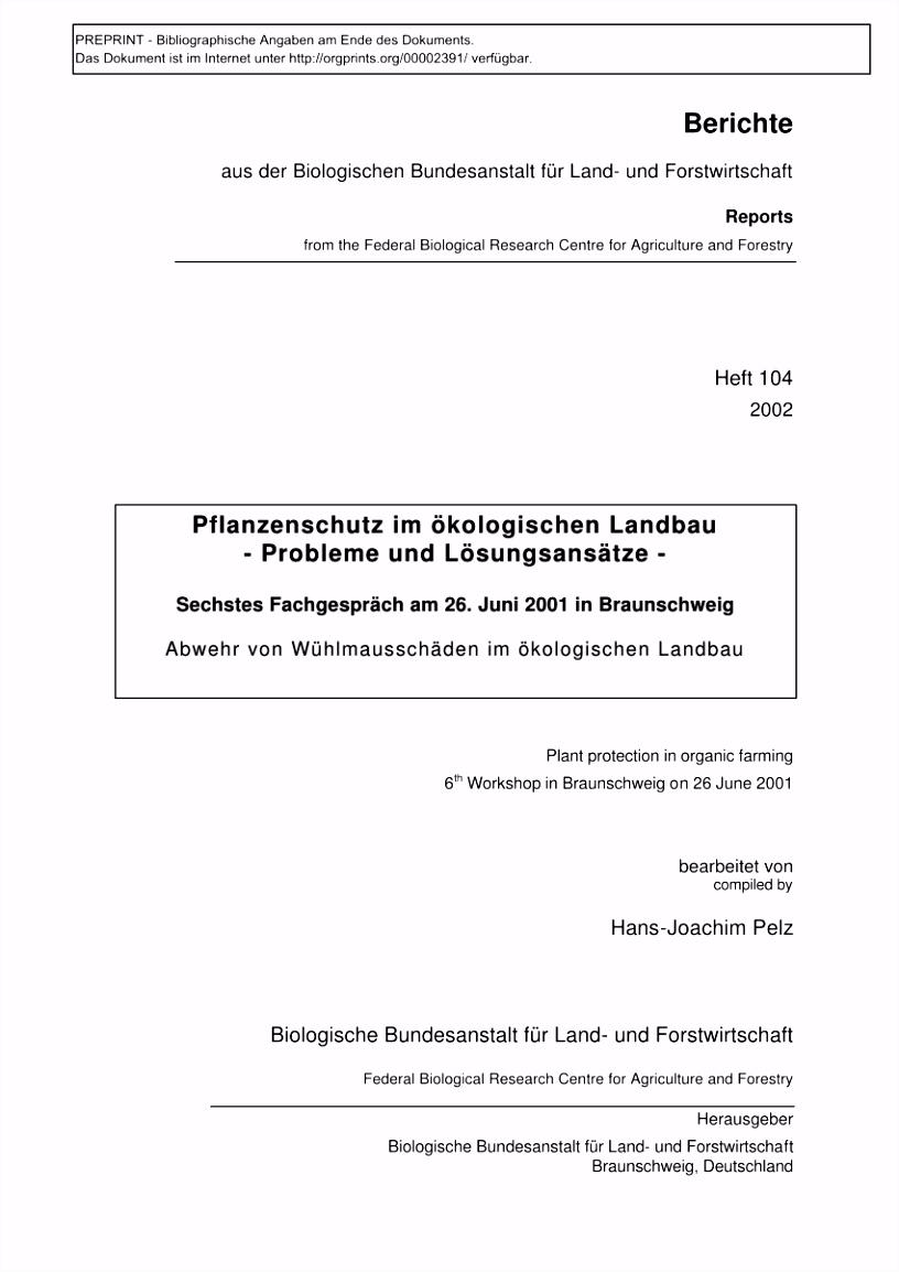 PDF Pflanzenschutz im ökologischen Landbau Probleme und Lösungsansätze