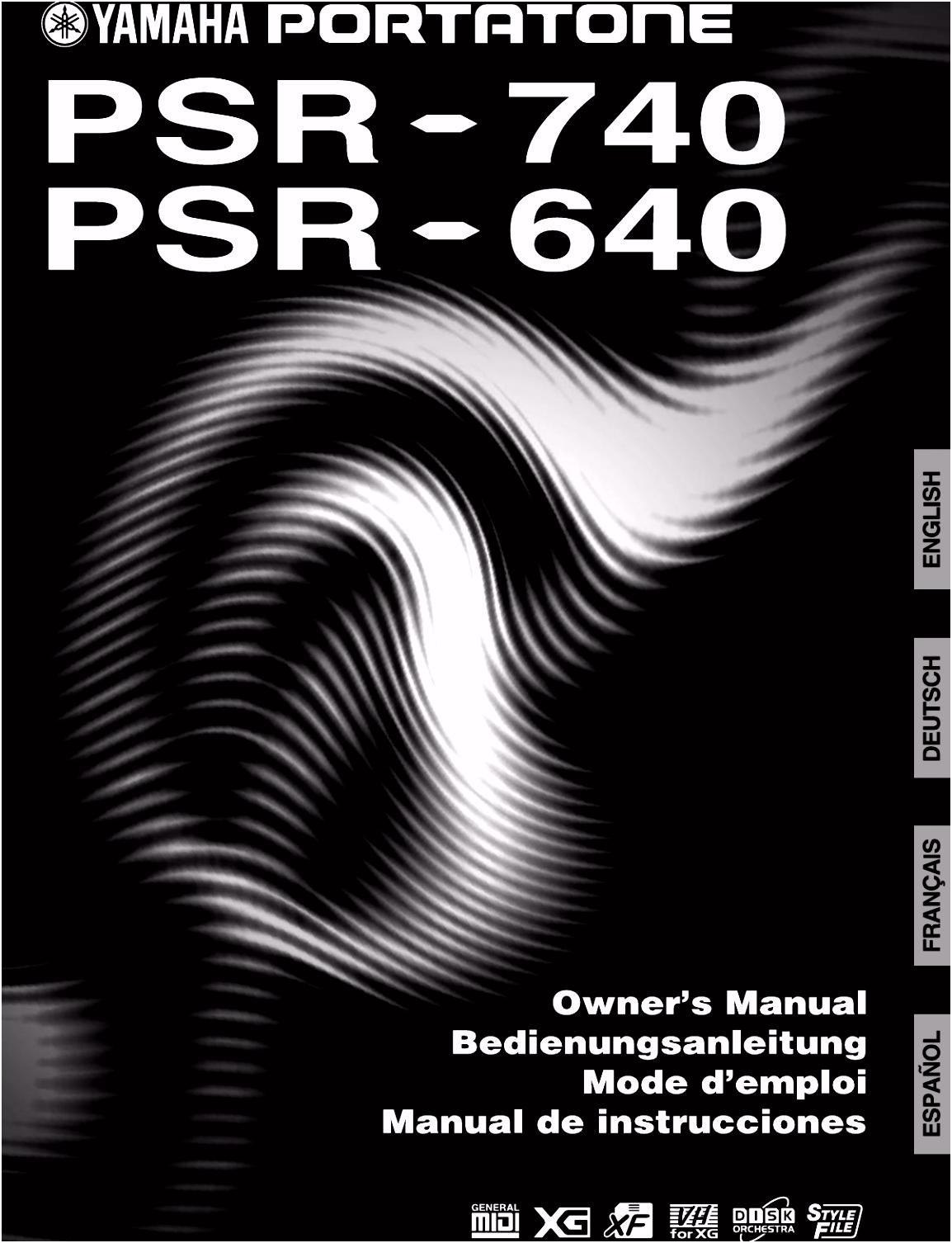 Yamaha 740 001 025Ger PSR 740 640 Owner s Manual PSR740G