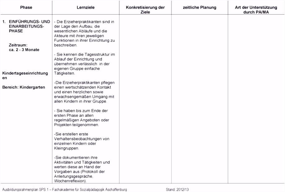 Praktikum Ausbildungsplan Vorlage Schön Ausbildungsplan Erzieher Muster I3bh32ssb4 L2mf54zjk2