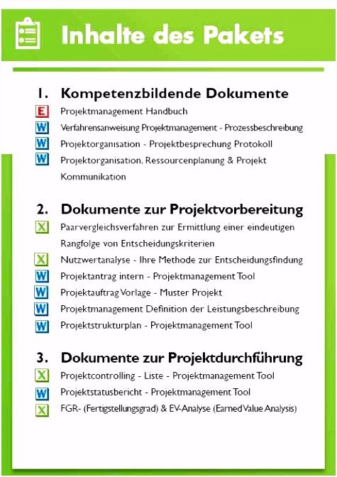 Projektmanagement Vorlagen inklusive Projekthandbuch