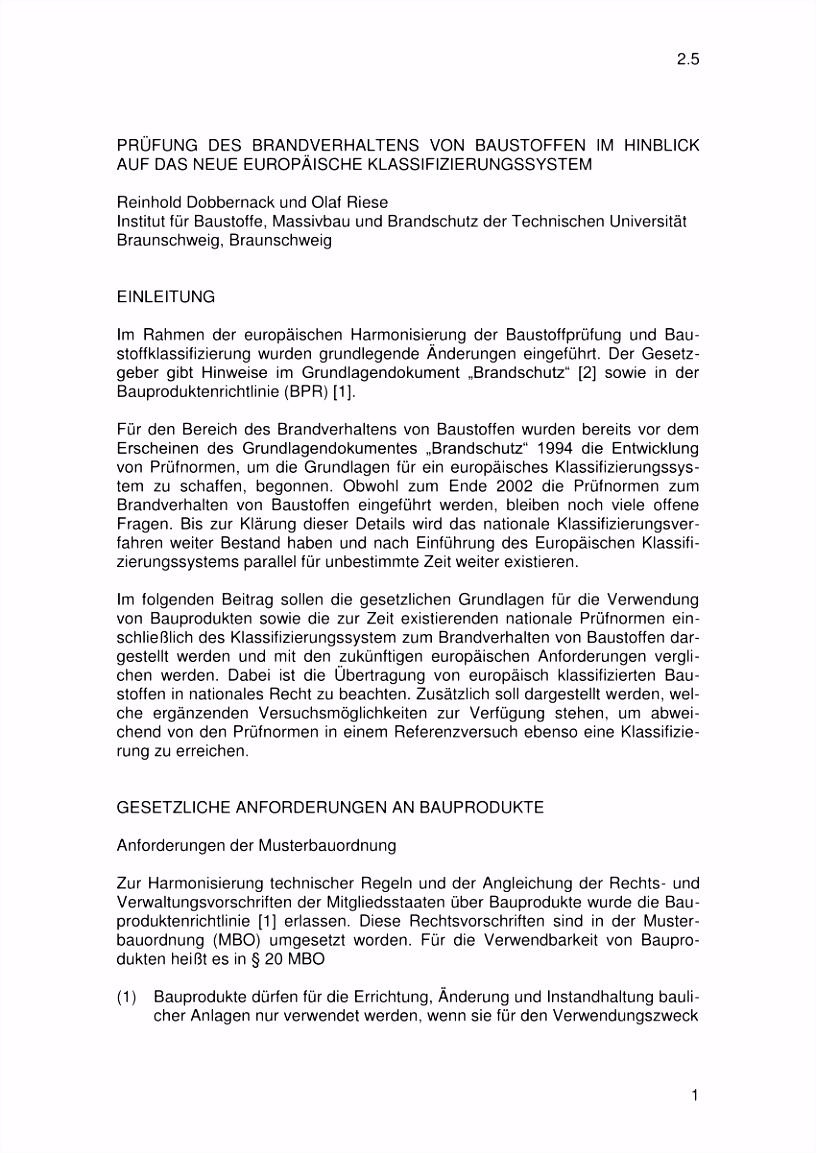 PDF 2 5 1 PRüFUNG DES BRANDVERHALTENS VON BAUSTOFFEN IM HINBLICK