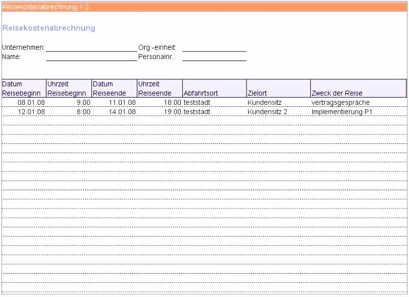 Reisekostenabrechnung formular Excel Kostenlos 2017 20 Elegant