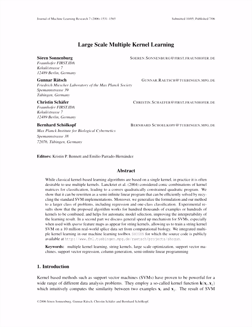PDF A Binary Classification Framework for Two Stage Multiple Kernel