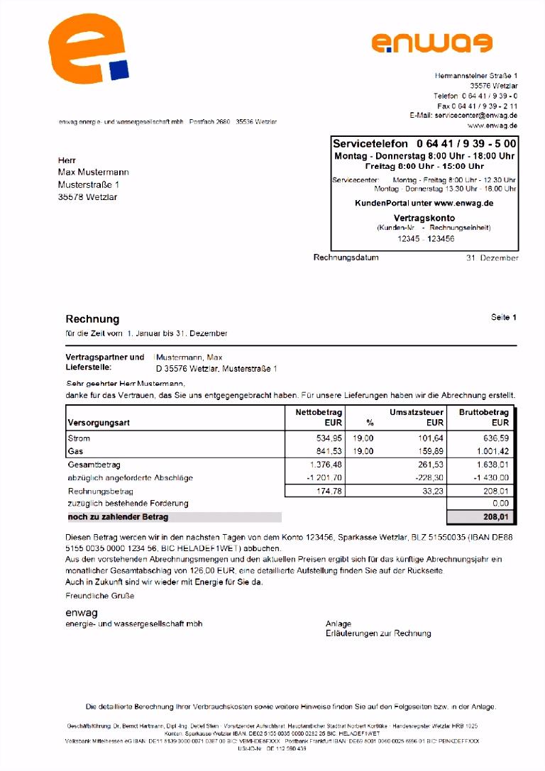 enwag energie und wassergesellschaft Musterrechnung