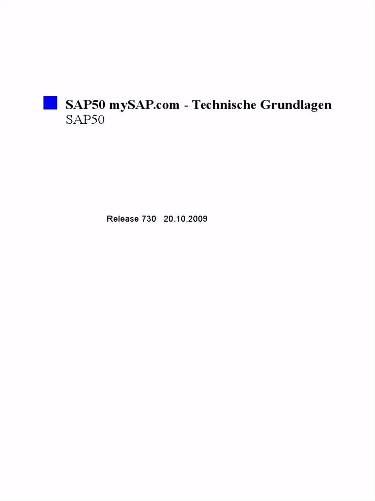 DE SAP50 DE2000 MySAP Technische Grundlagen
