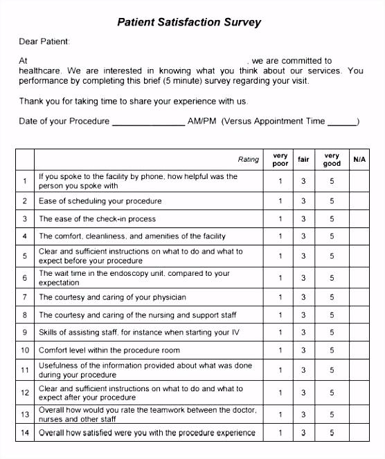 Client Satisfaction Questionnaire Template Sample Patient Survey