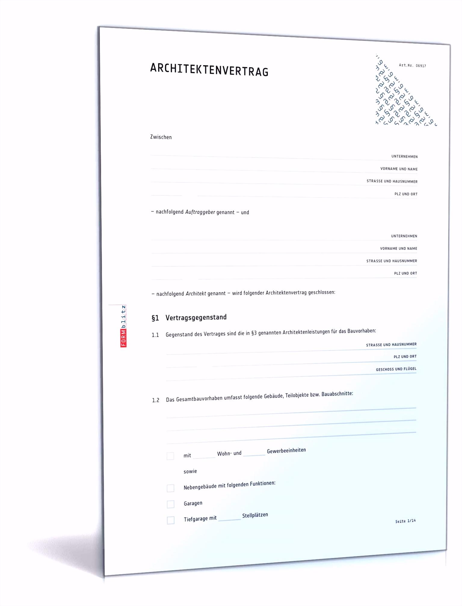Architektenvertrag Muster