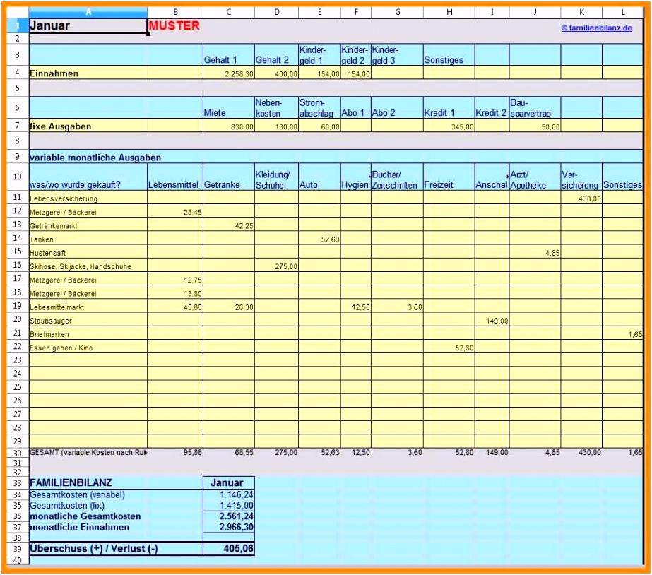 Neues Vorlage Haushaltsbuch