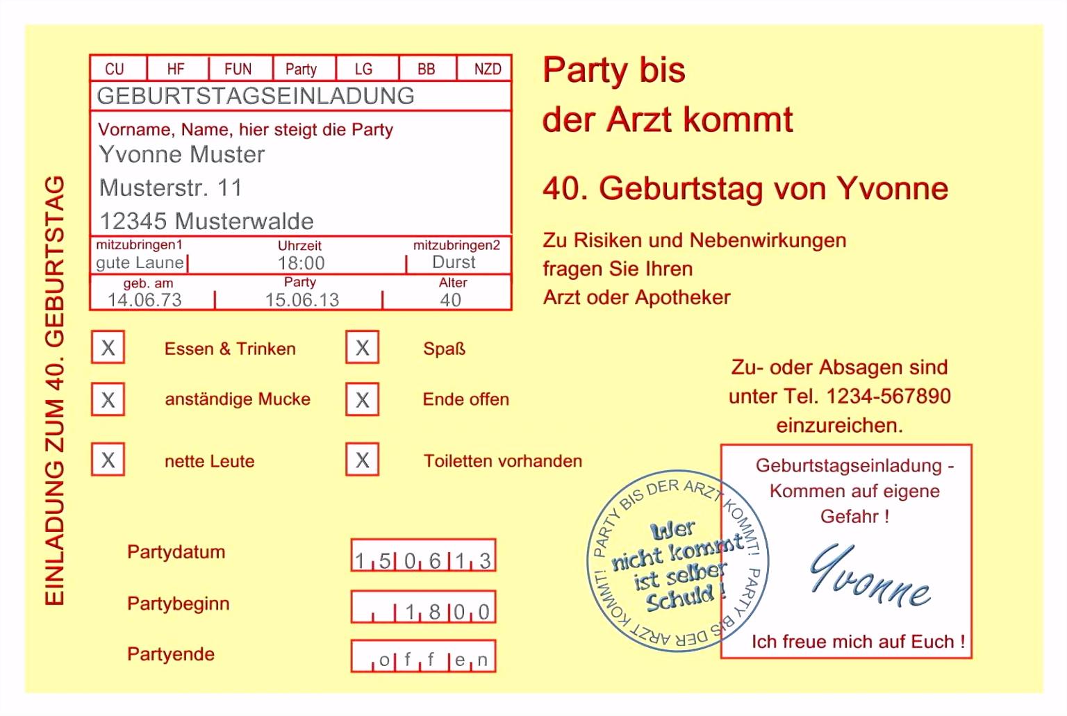Einladung Geburtstag Vorlage Kostenlos
