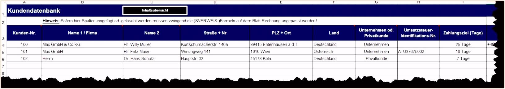 11 Kundendatenbank Excel Vorlage Vorlagen123 Vorlagen123