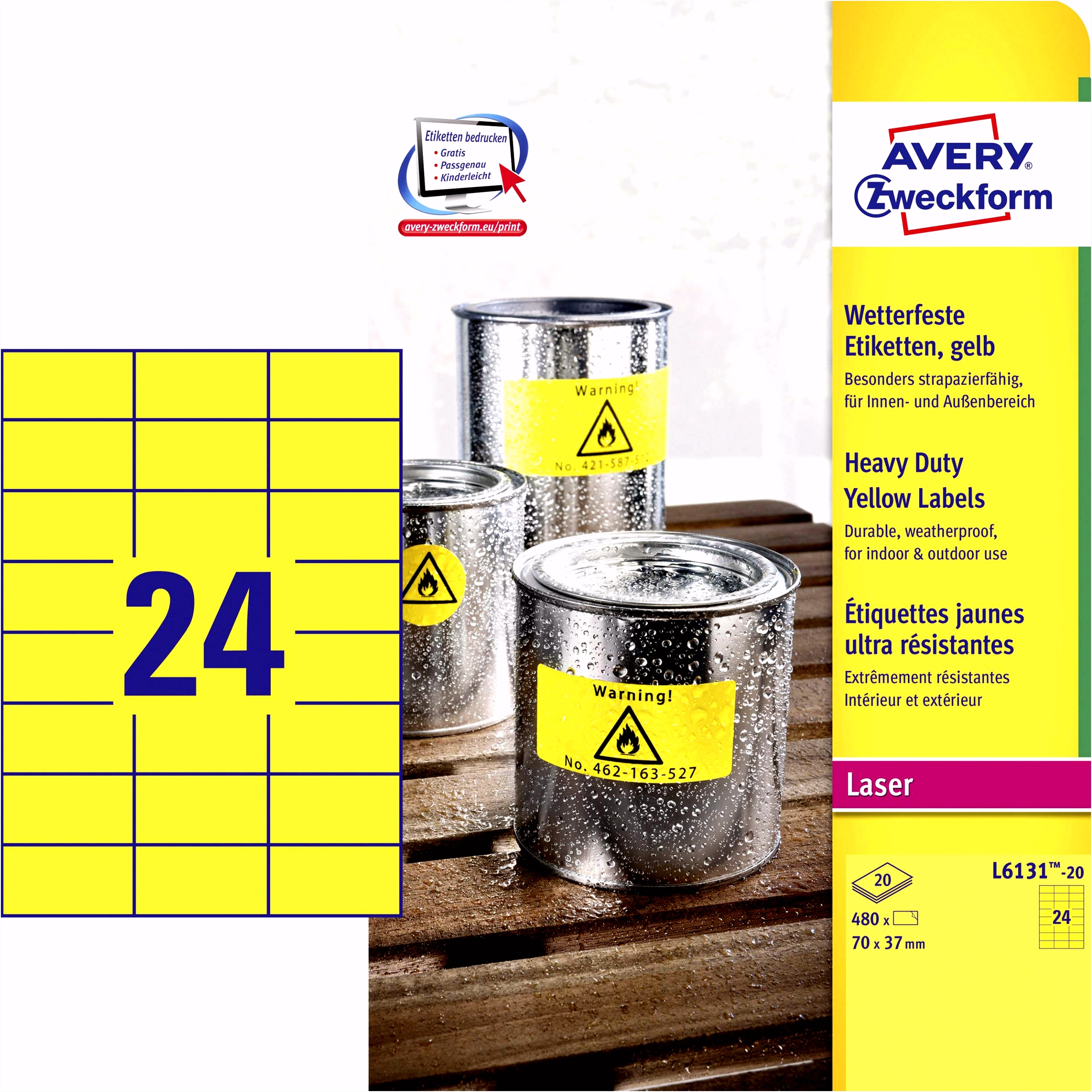 Avery Zweckform L6131 20 Etiketten 70 x 37 mm Polyester folie Geel