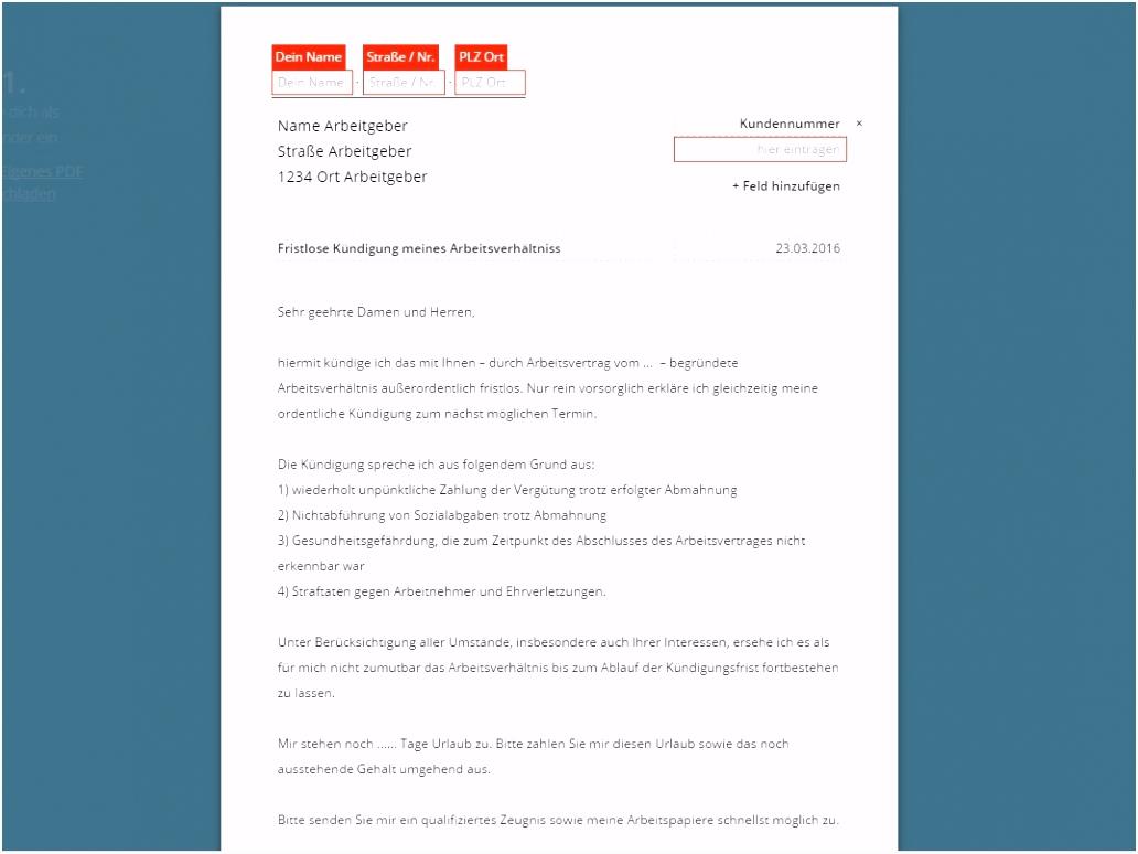 20 kündigung arbeitsvertrag arbeitnehmer muster