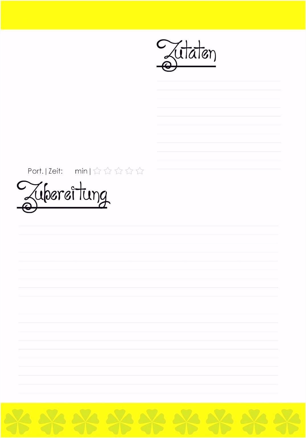 Schön Vorlage Rezeptbuch