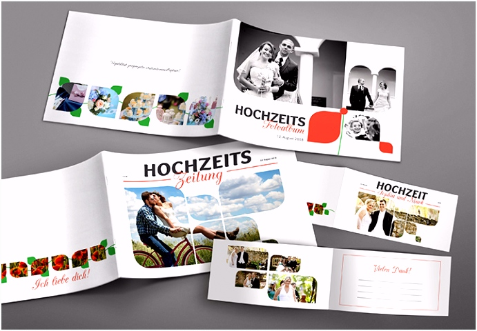 Hochzeitszeitung Einladung Tischkarten und Fotoalbum für Hochzeit
