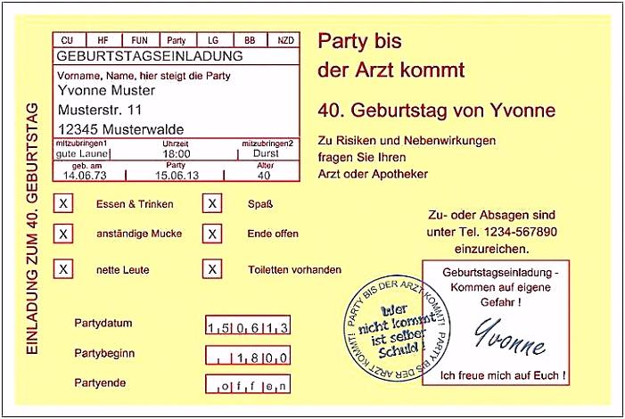 Einladungskarten 40 Geburtstag Selber Machen