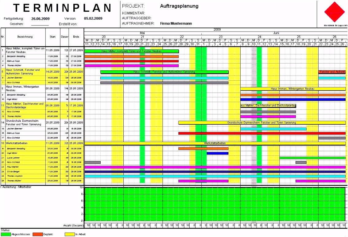 Bauzeitenplan Vorlage