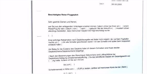 Reklamation Beschädigung Reisegepäck Vorlage Zum Download